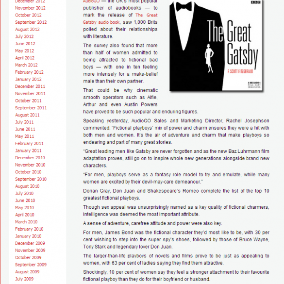 Lovereading.co.uk covers our story about Jay Gatsby being named as one of the world's all-time playboys