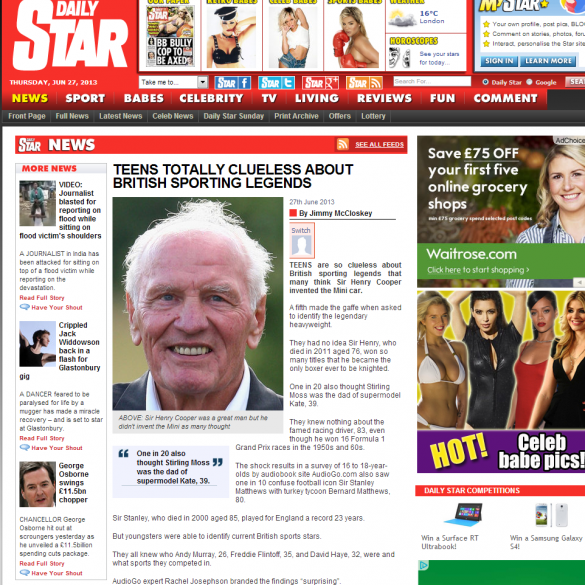 The Daily Star Online, together with a variety of hard-copy titles, cover our story for the audiobook publisher, AudioGO