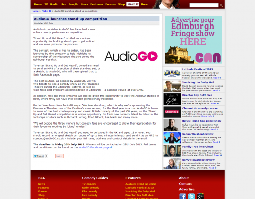 Palamedes PR secures media PR coverage for AudioGO's Stand Up and Get Heard comedy contest