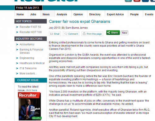 Palamedes PR secures B2B PR exposure for the Ghana Careers Fair in Recruiter magazine