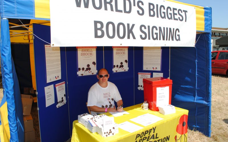 Neil Blower in the book signing tent at this year's War and Peace Revival Show. Photograph copyright Palamedes PR
