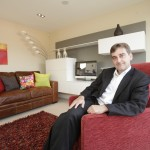 AM Nick Ramsay at one of the new mews houses at the Severn Quay development
