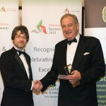 Anthony Harvison of Palamedes Pr Agency presenting the Judges Choice winner award to - Peter Mills from Wynndel Propery Management with their award at the Monmouthshire Business Awards Friday 11th October 2013 - The St. Pierre Suite, St. Pierre Hotel and Country Club