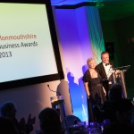 Founder of the MBA's - Janet Harris with guest award presenter - Hywel James at the Monmouthshire Business Awards Friday 11th October 2013 - The St. Pierre Suite, St. Pierre Hotel and Country Club