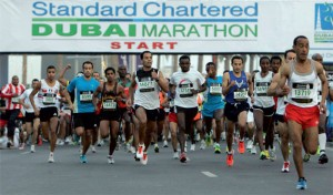 The start of the Dubai Marathon got underway this morning