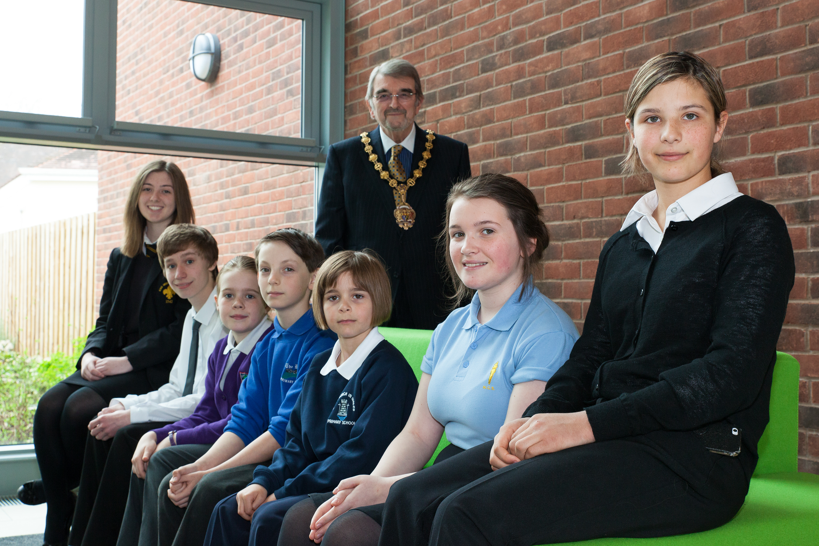 "Monmouthshire County Council - Run The Council For The Day Event - at Usk Headquarters. L-R: Angharad Clarke - King Henry VIII School, Bethany Woollard - Deri View School, James Taylor - Caldicot Comprehensive, Sean Cupis - The Dell ""And Overall Winner of the competition"", Amelia Worsley - Usk CIW, Anna Thomas - Monmouth Comprehensive, Ruth Chohan - Home Tutored. All enjoying spending the day at Monmouthshire County Council Usk Headquarters with Council Chairman - Cllr David Dovey - MCC Chairman - (Rear)"