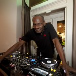 Palamedes P.R. Chris Jones, brother of actress Grace Jones, DJ's at the opening of 'Gigi's', a new Italian restaurant in Mayfair. 25 09 2014