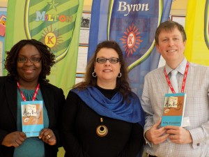 Author and inclusivity campaigner Kitty Clairmont (centre) with Kensington Primary School Deputy Headteachers Ben Levinson and Ms Moji Omole