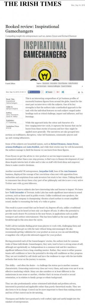 gt Irish Times - O - 140915 Inspirational Gamechangers review