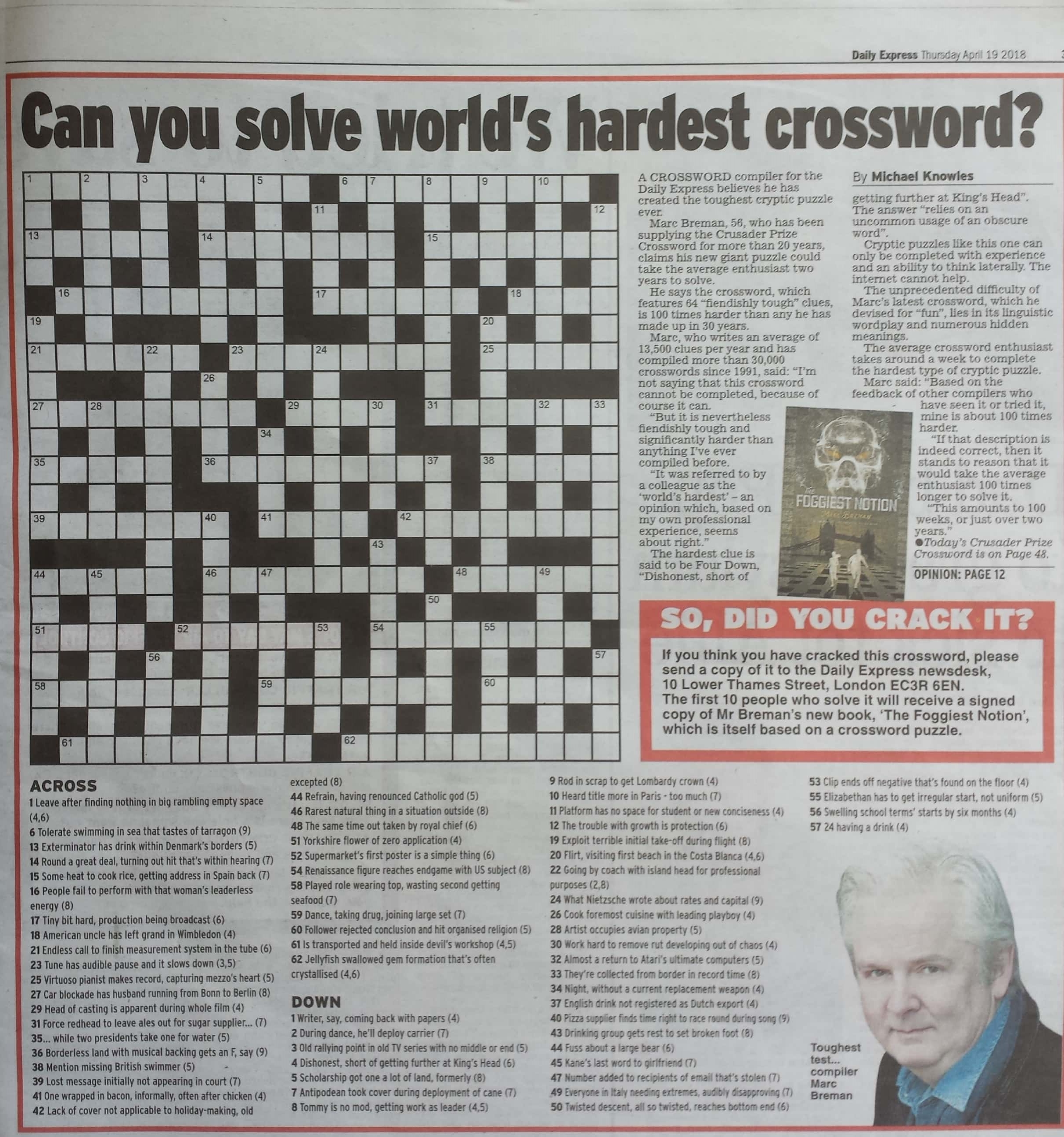 photograph relating to Worlds Hardest Crossword Puzzle Printable named Marc Breman Most up-to-date ebook PR achievements tale already on the web