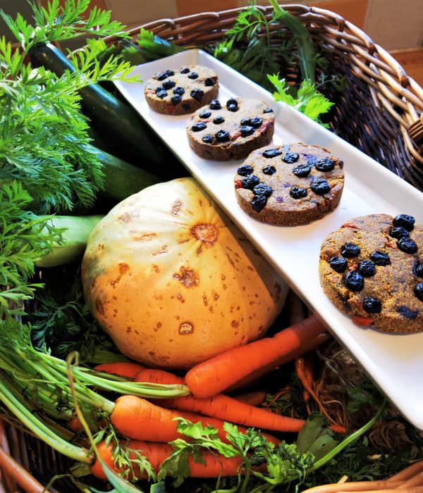 5 of 5 a day 4 cookies and raw ingredients basket for four cookies. Byline @JarekFilipowicz